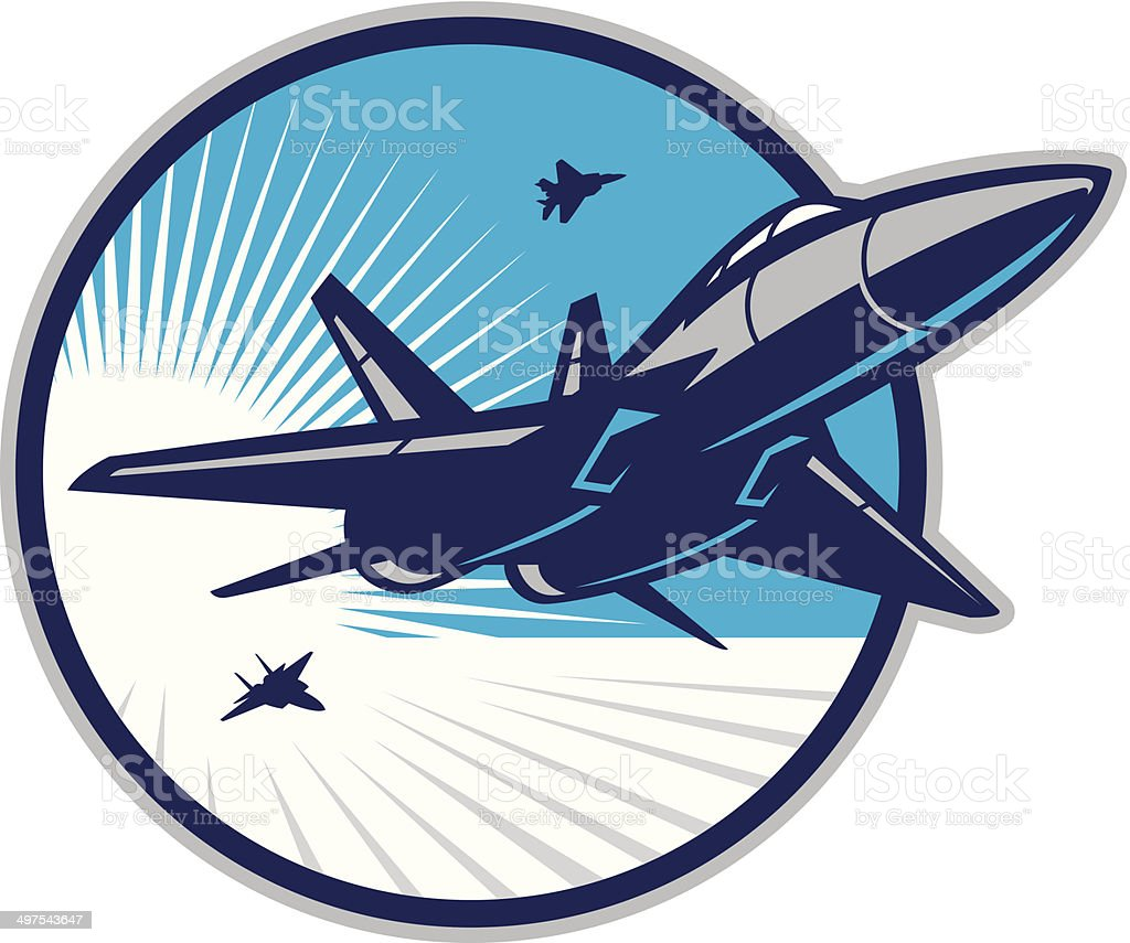 Jet Fighter in Sky vector art illustration