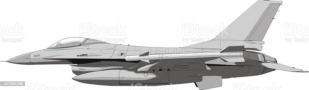 Jet fighter plane illustration vector art illustration