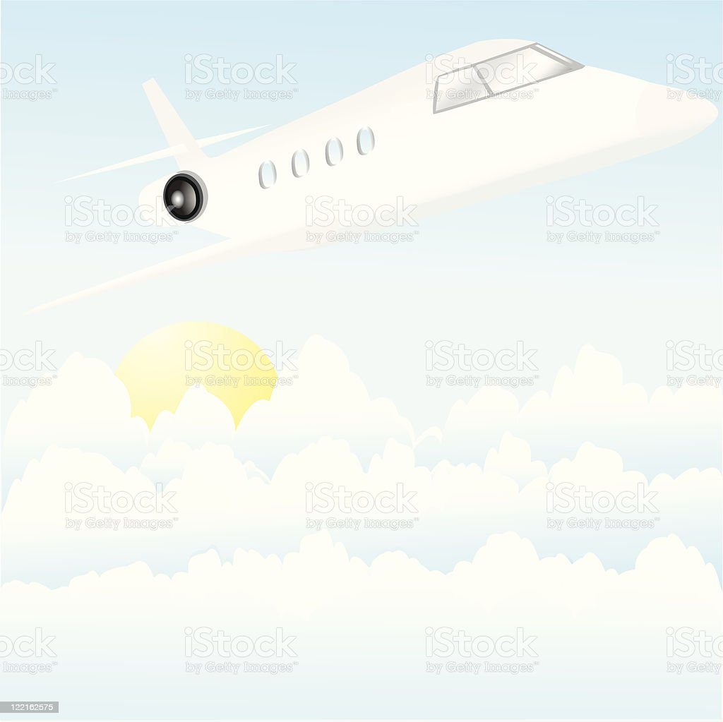 Jet in the Clouds royalty-free stock vector art