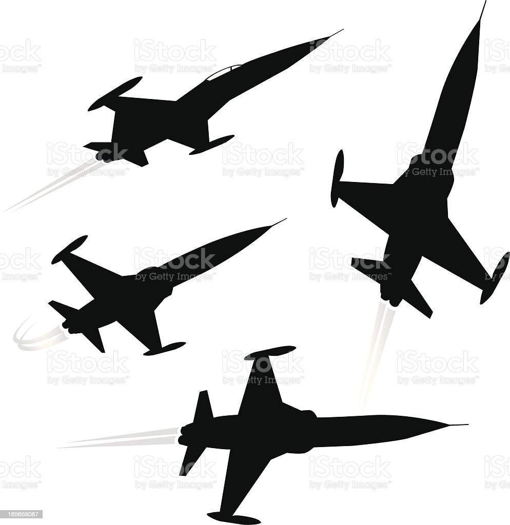jet plane silhouette set vector art illustration