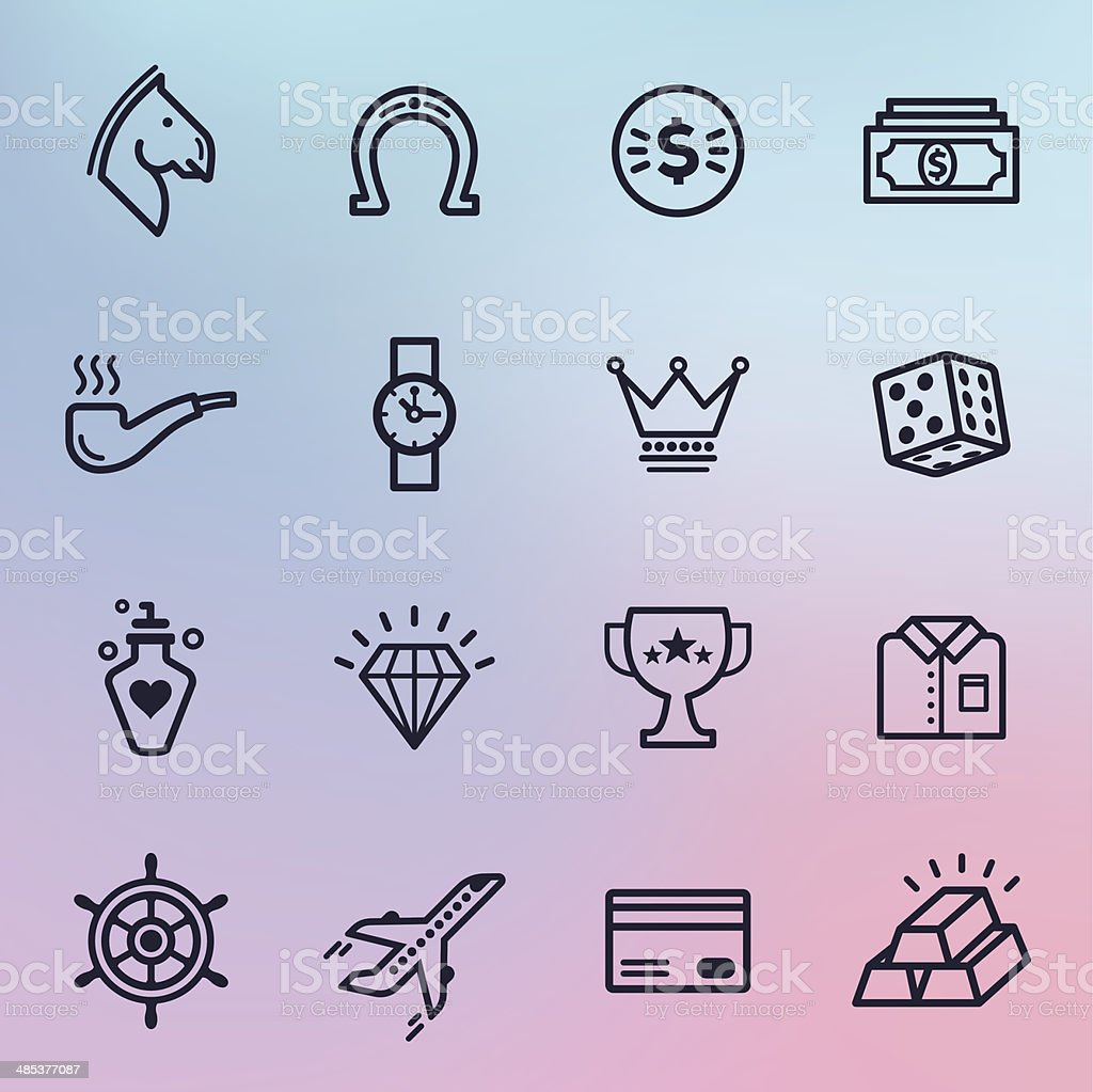 Jet Set Line Icons vector art illustration