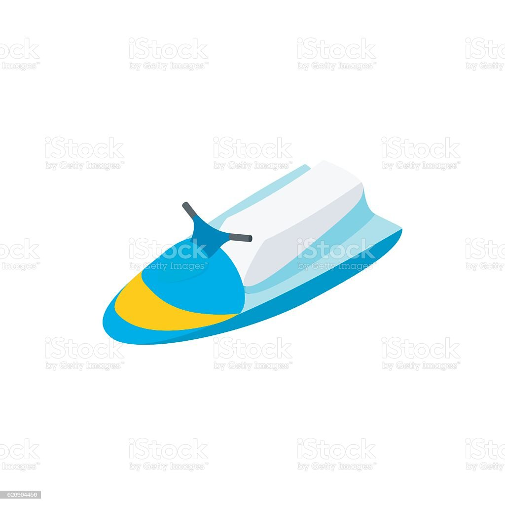 Jet ski 3d isometric icon vector art illustration