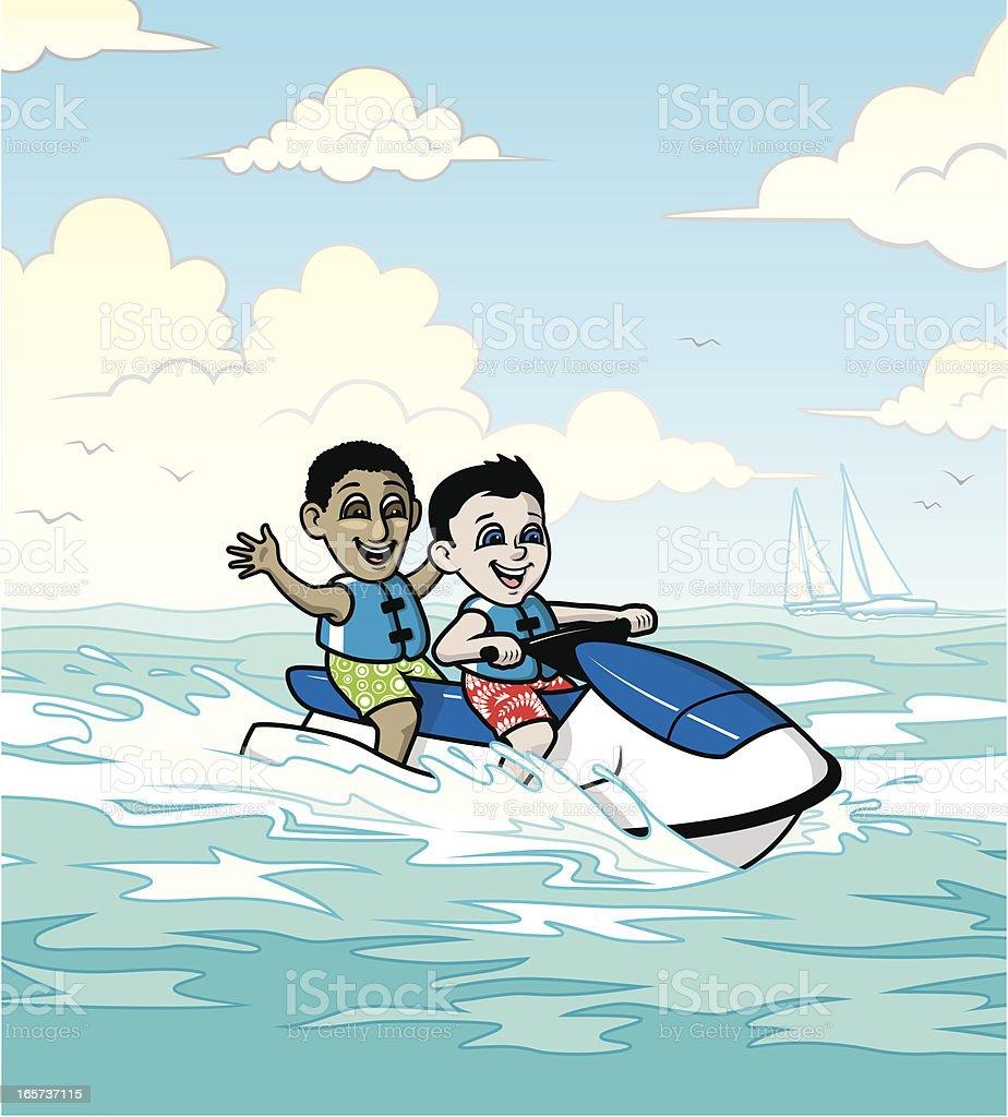 Jet Ski Boys royalty-free stock vector art