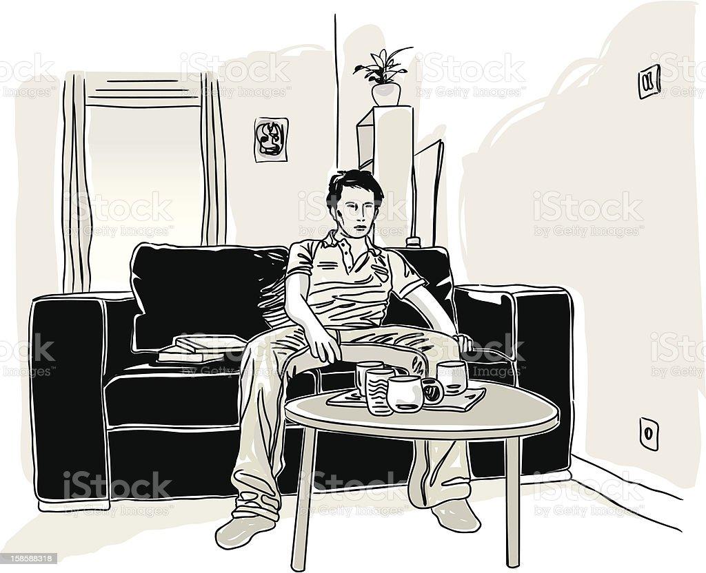 Jeune homme seul dans son salon. royalty-free stock vector art