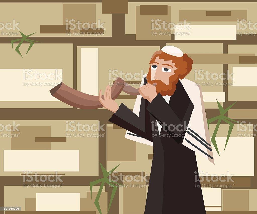jew with shofar at wailing wall vector art illustration