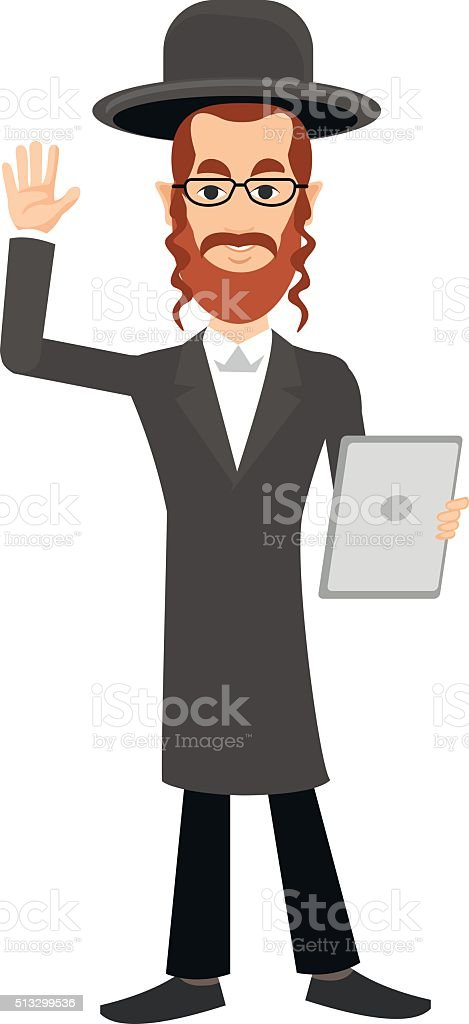 Jew with the tablet vector art illustration