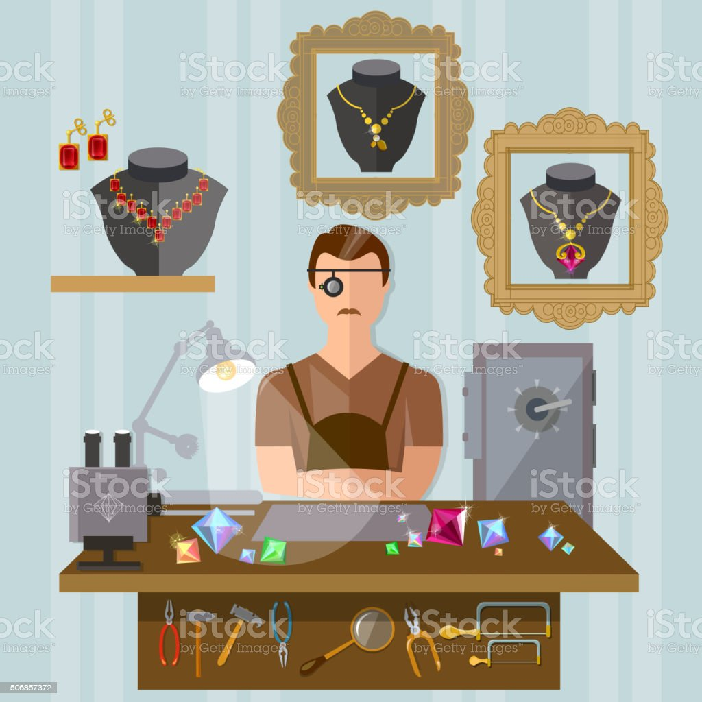 Jeweler at the workplace making jewelry vector art illustration