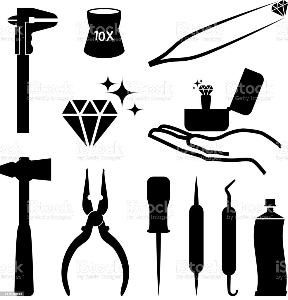 Jeweler tools black and white royalty free vector icon set vector art illustration