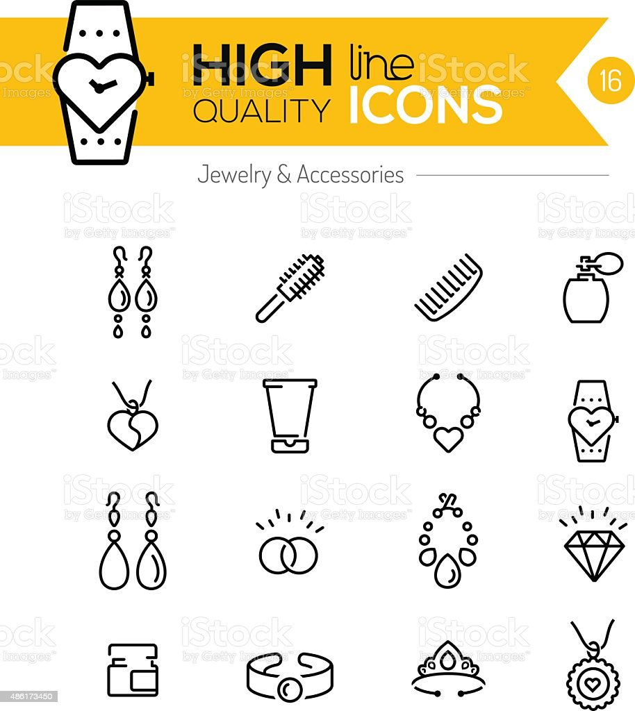 Jewelry and Accessories line icons series vector art illustration
