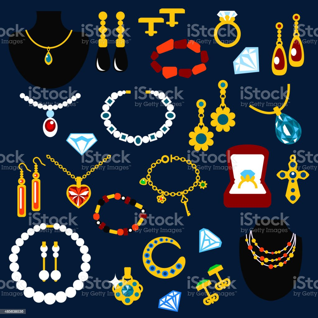 Jewelry and gems flat icons vector art illustration