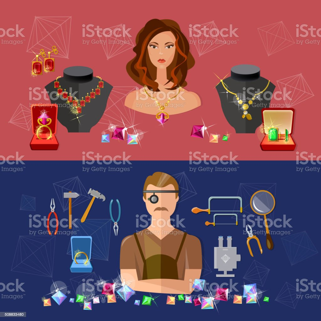 Jewelry banners sale precious stones jeweler in workplace vector art illustration