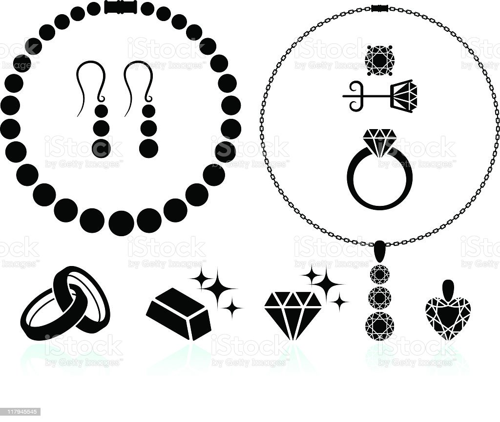 jewelry black and white set vector art illustration