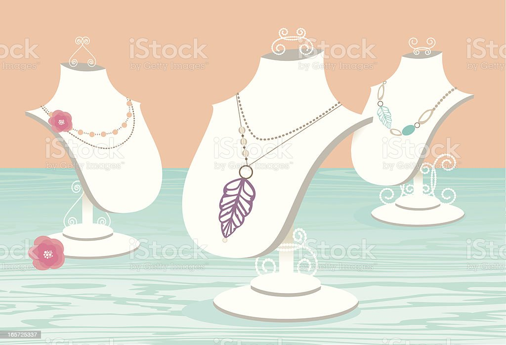 Jewelry Display Necklace Stands royalty-free stock vector art