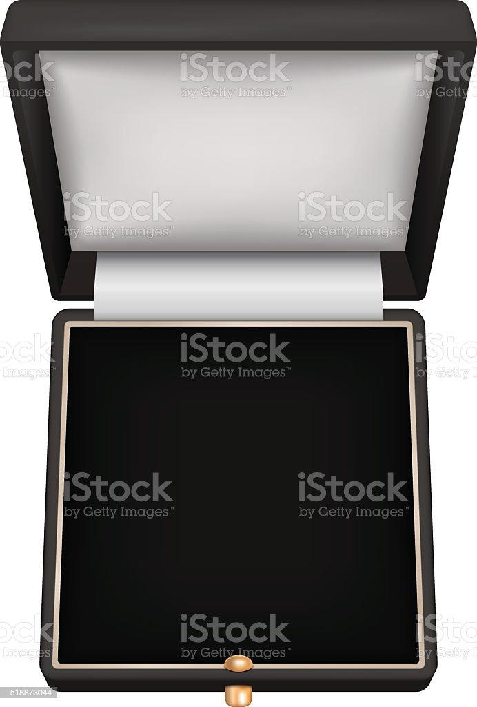Jewelry gift box. Open black box vector art illustration