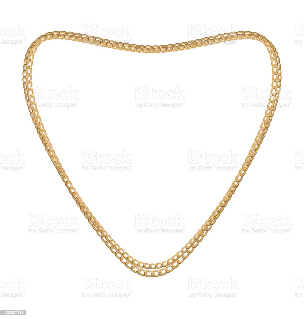Jewelry Golden Chain of Heart Shape vector art illustration