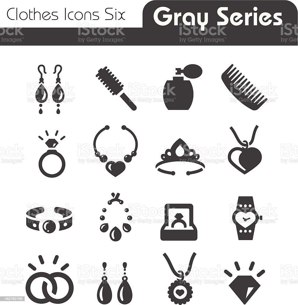 Jewelry Icons Gray Series vector art illustration