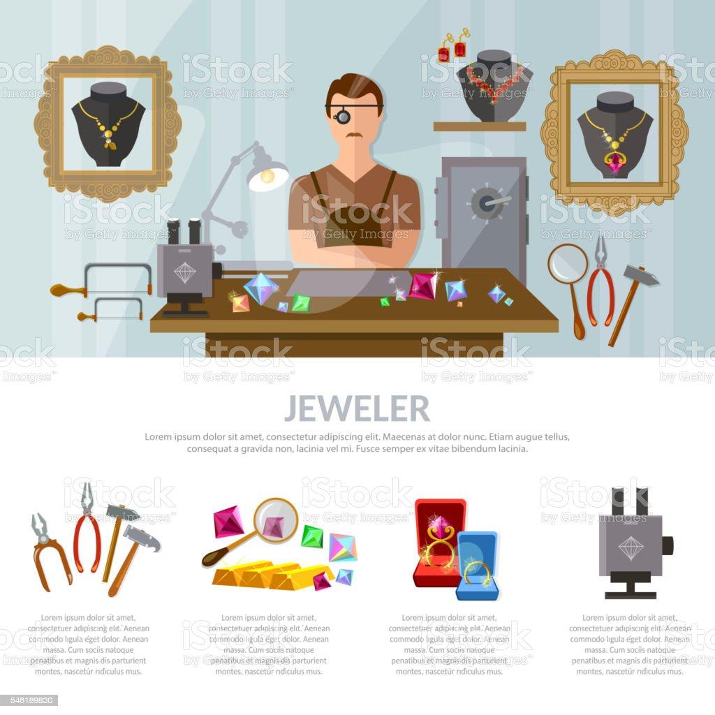 Jewelry infographics earrings rings gems jeweler vector art illustration