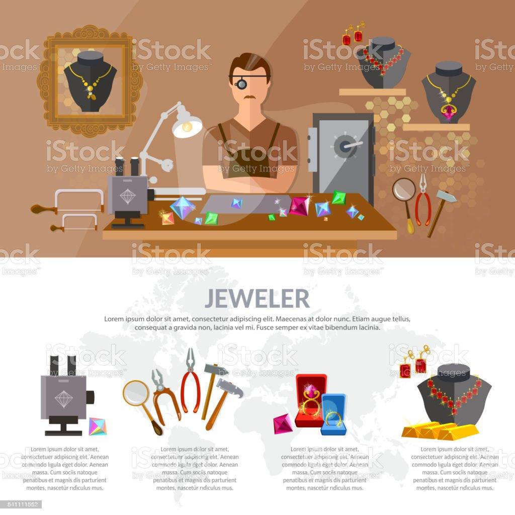 Jewelry infographics jewels jeweler at work vector art illustration