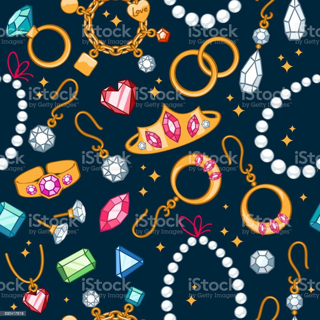 Jewelry items seamless dark background. vector art illustration