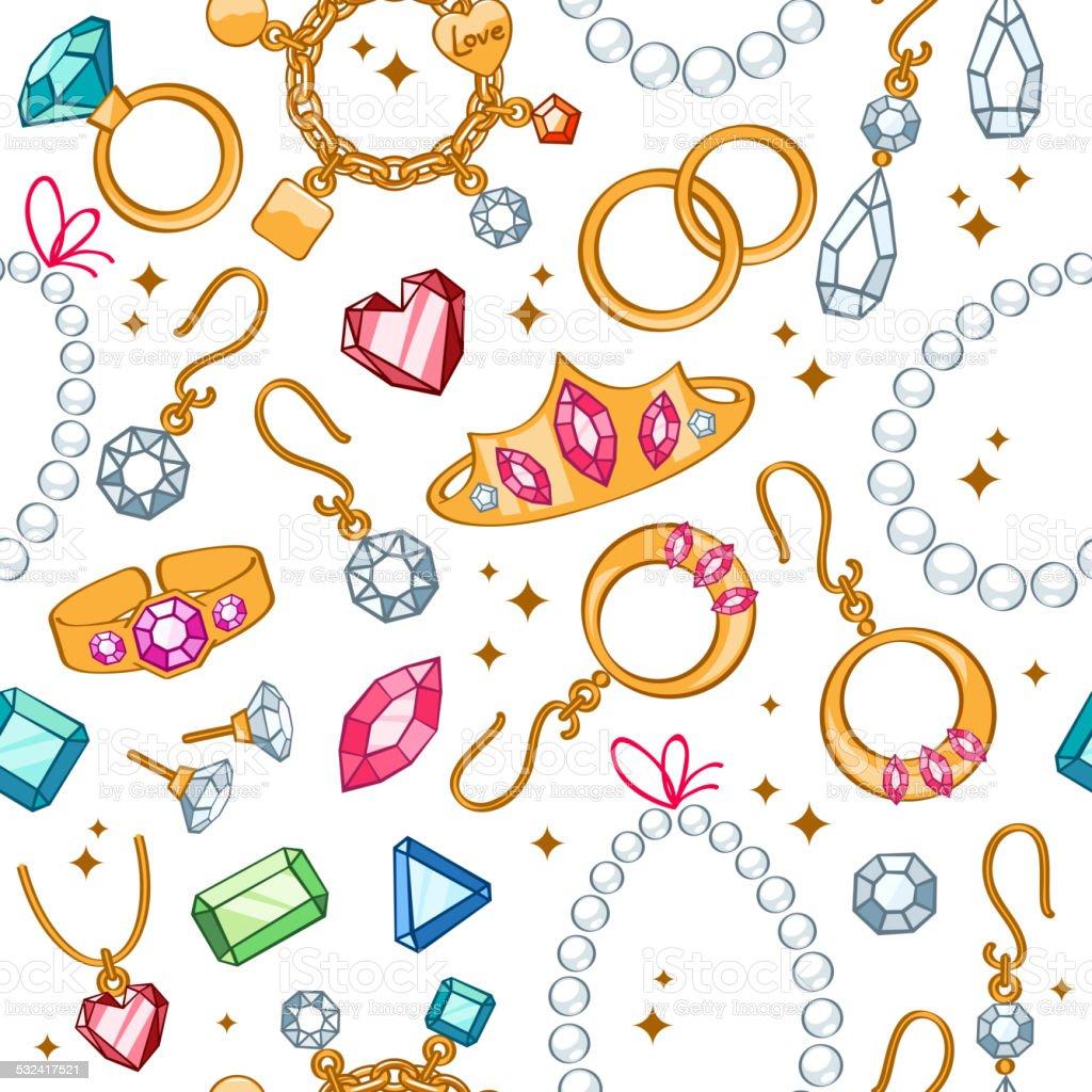 Jewelry items seamless light background. vector art illustration