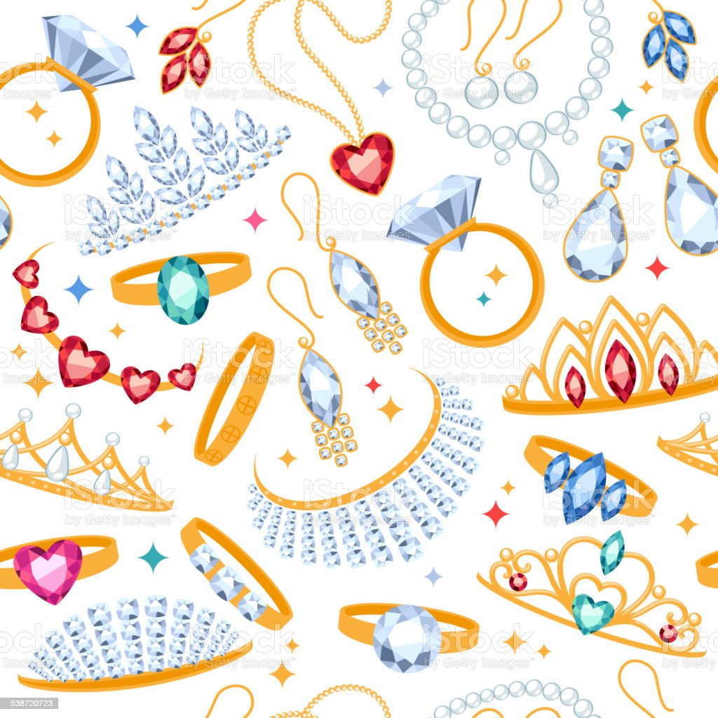 Jewelry items seamless white background. vector art illustration