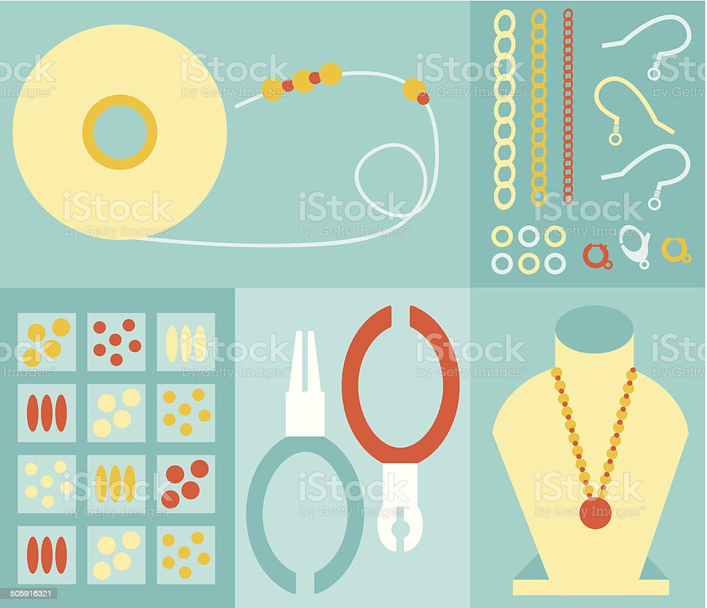 Jewelry Making vector art illustration