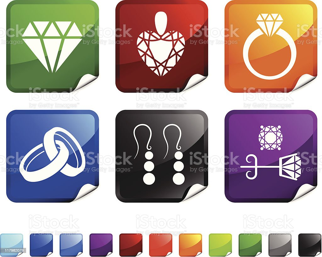 jewelry royalty free vector icon set stickers royalty-free stock vector art