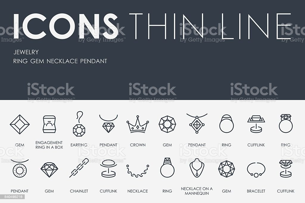 Jewelry Thin Line Icons vector art illustration