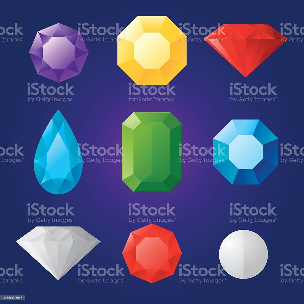 Jewels vector art illustration