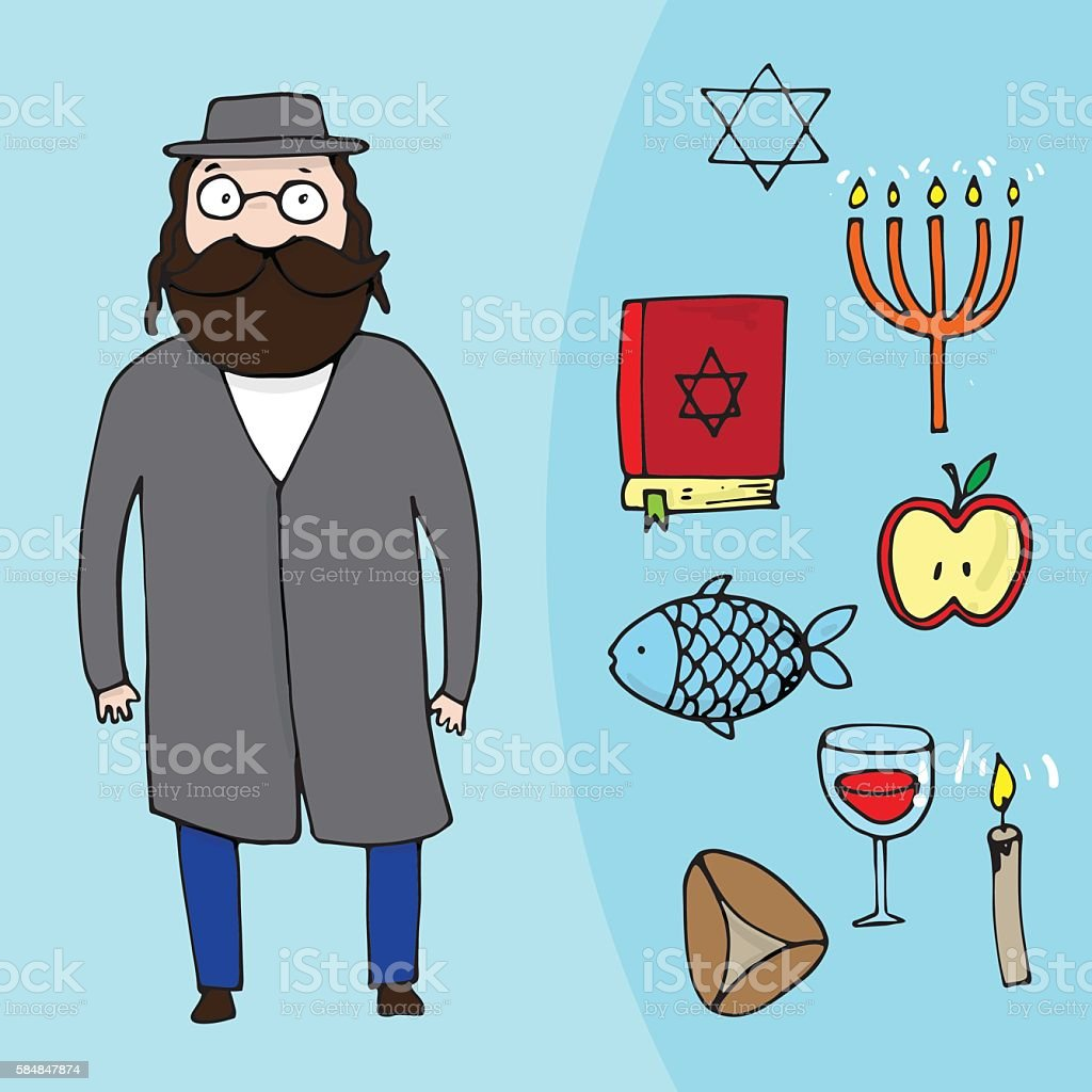 Jewish bearded man and a set of different jewish elements vector art illustration