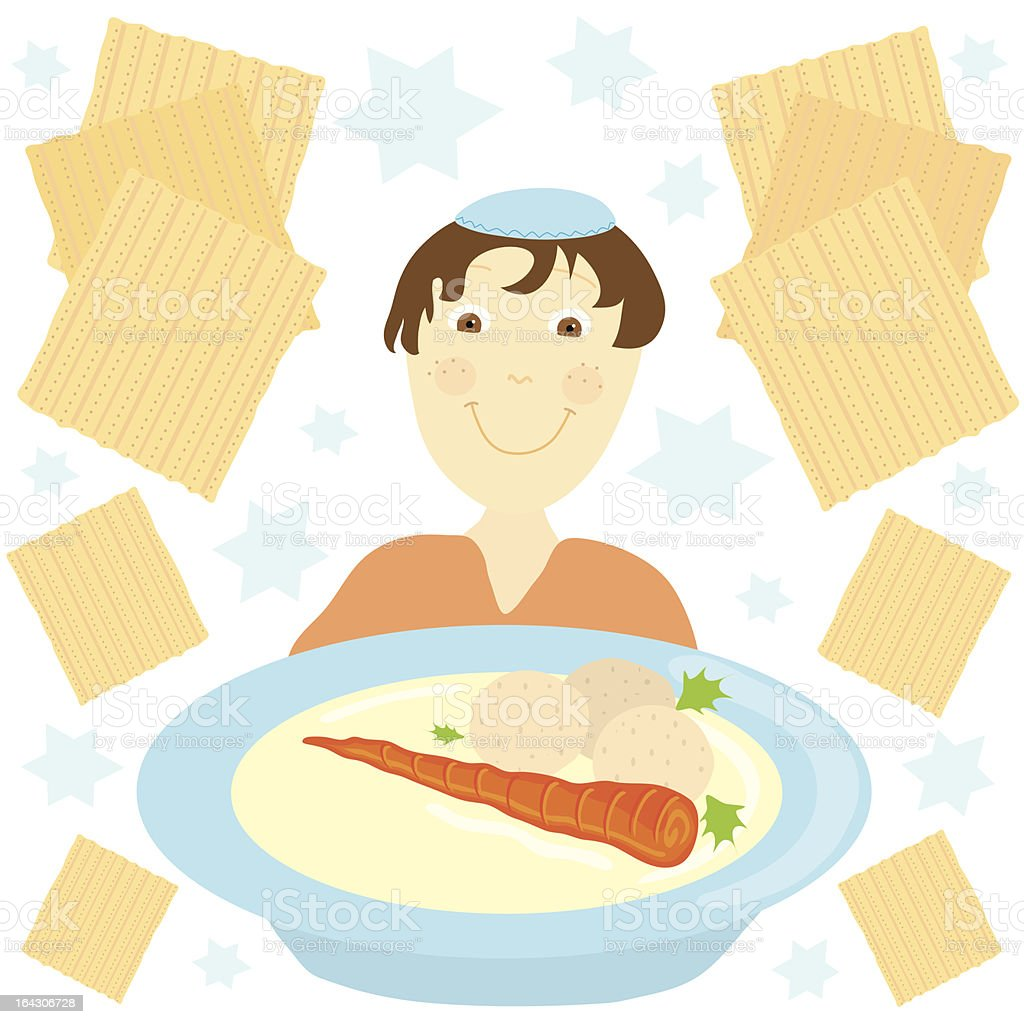 Jewish boy and Matzo Ball Soup royalty-free stock vector art
