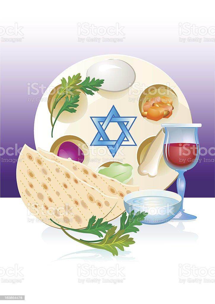 Jewish celebrate pesach passover with matzo,flowers,wine vector art illustration