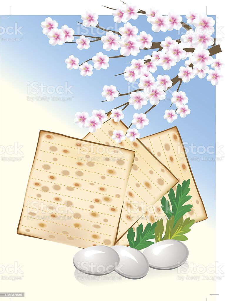 Jewish celebrate pesach with eggs,matzo and flowers royalty-free stock vector art