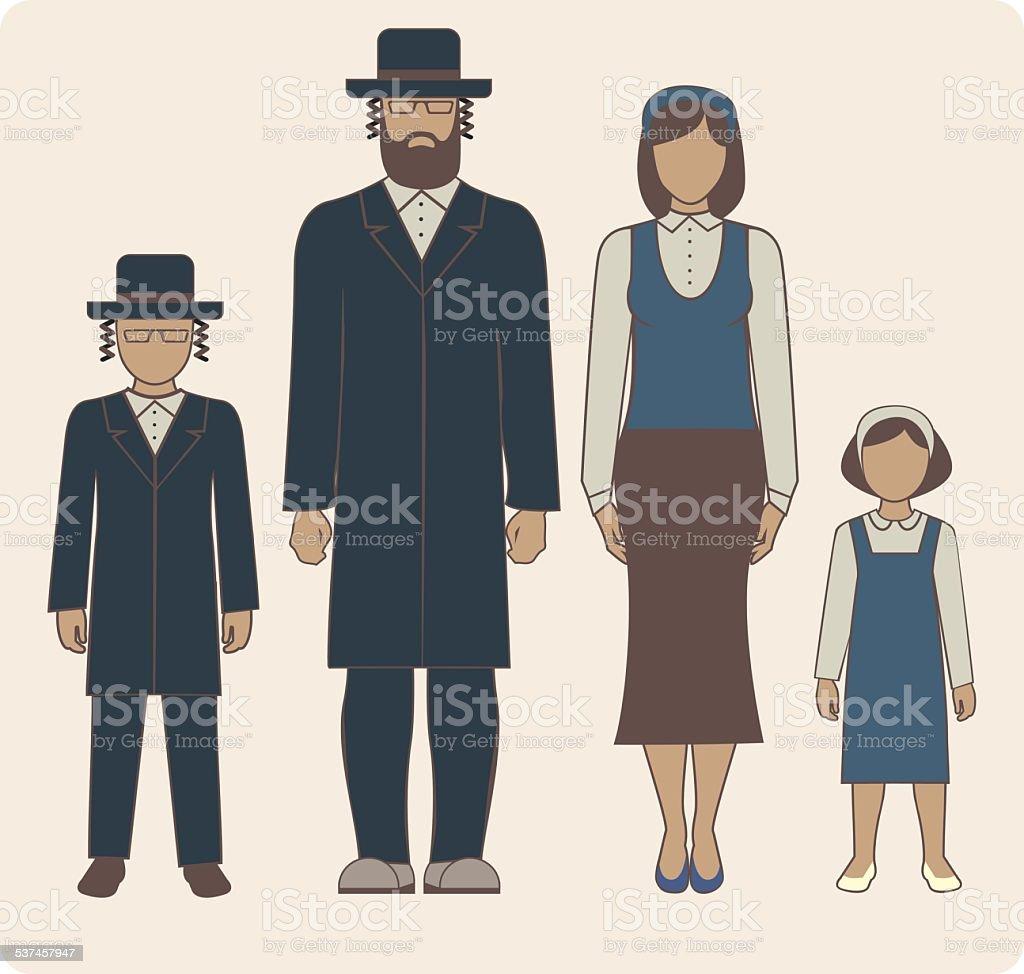 Jewish family vector art illustration