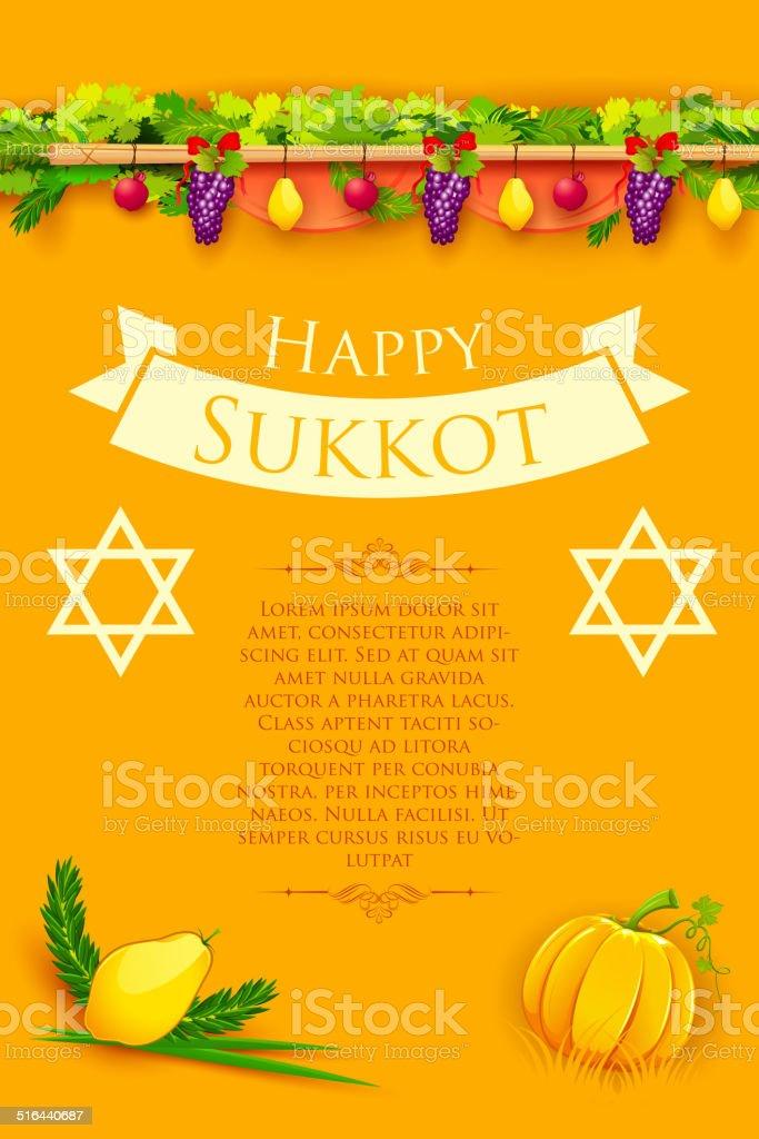 Jewish festival Happy Sukkot vector art illustration