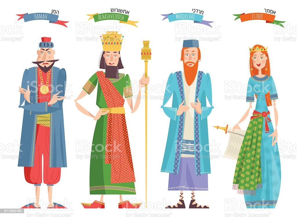 Jewish festival of Purim. Book of Esther characters and heroes vector art illustration