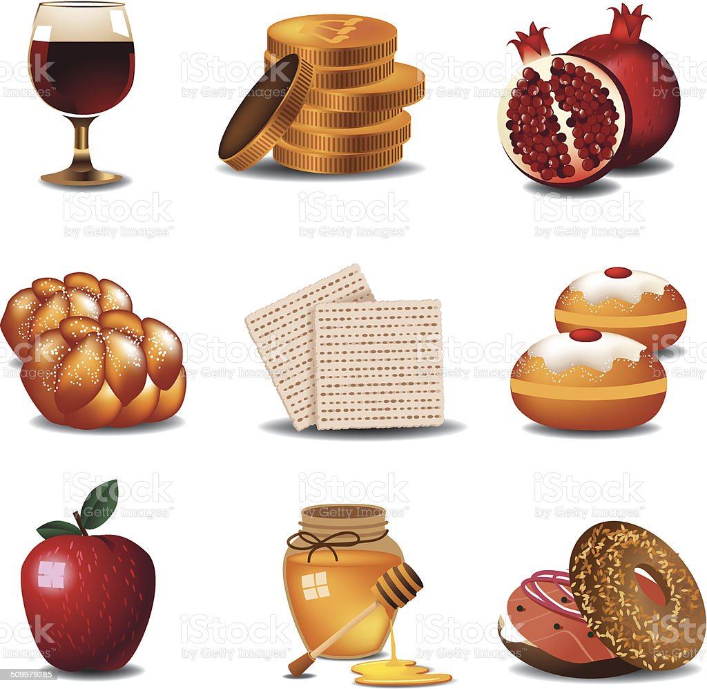 Jewish food icons vector art illustration