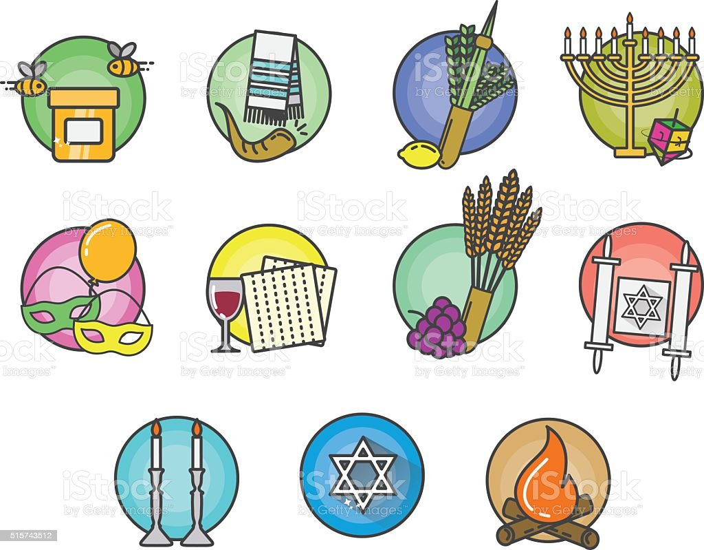 Jewish Holiday Calendar vector art illustration