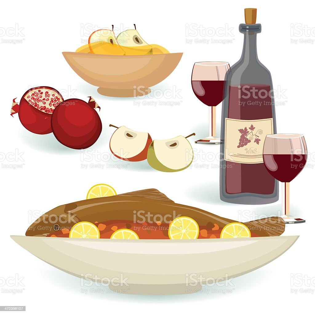 Jewish Holiday Food for the Meal Rosh Hashanah vector art illustration