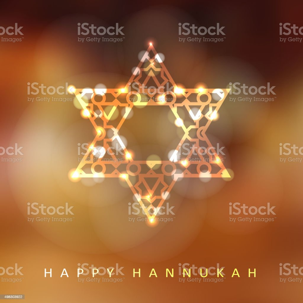 Jewish holiday Hannukah greeting card, ornamental glittering jewish star, vector vector art illustration