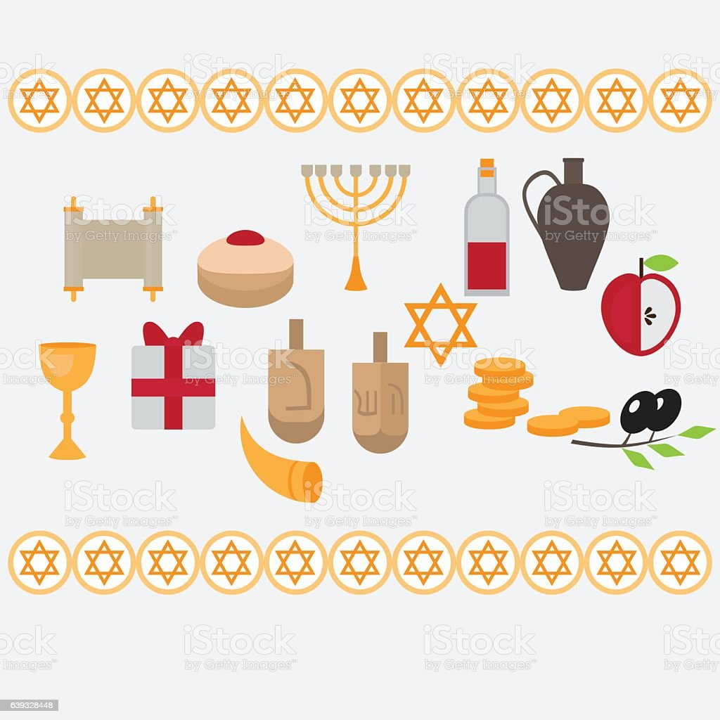 Jewish holiday Hanukkah design elements with traditional donuts,...