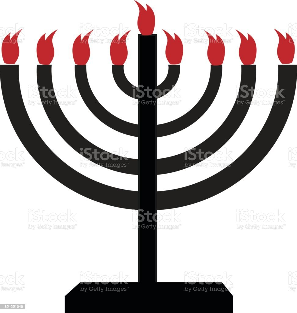 Jewish holiday. Hanukkah menorah with candles vector illustration