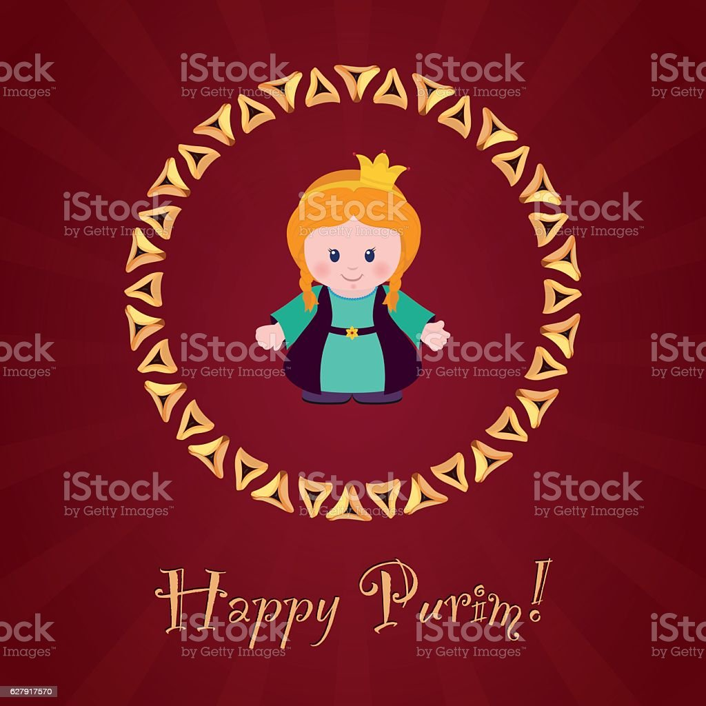 Jewish holiday of Purim. Greeting card with Esther vector art illustration
