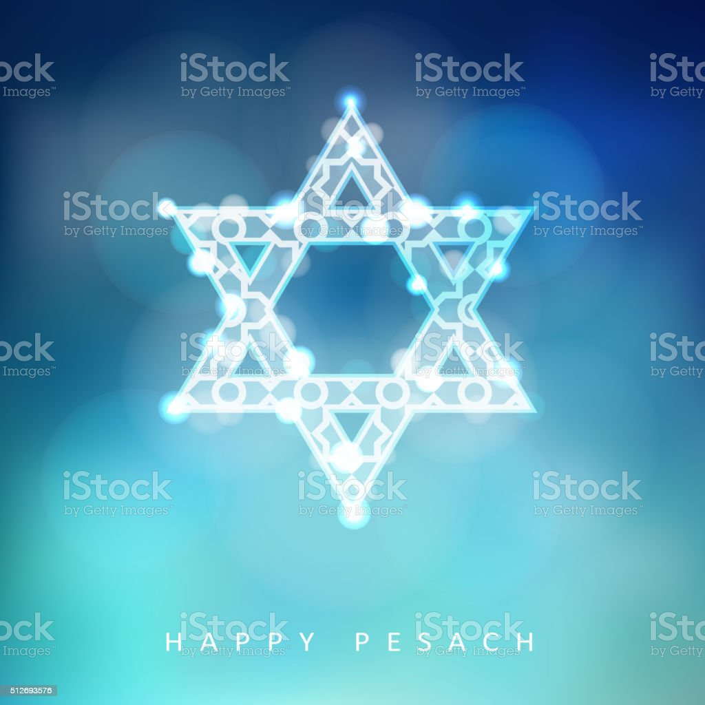 Jewish holiday Passover greeting card with ornamental glittering jewish star vector art illustration