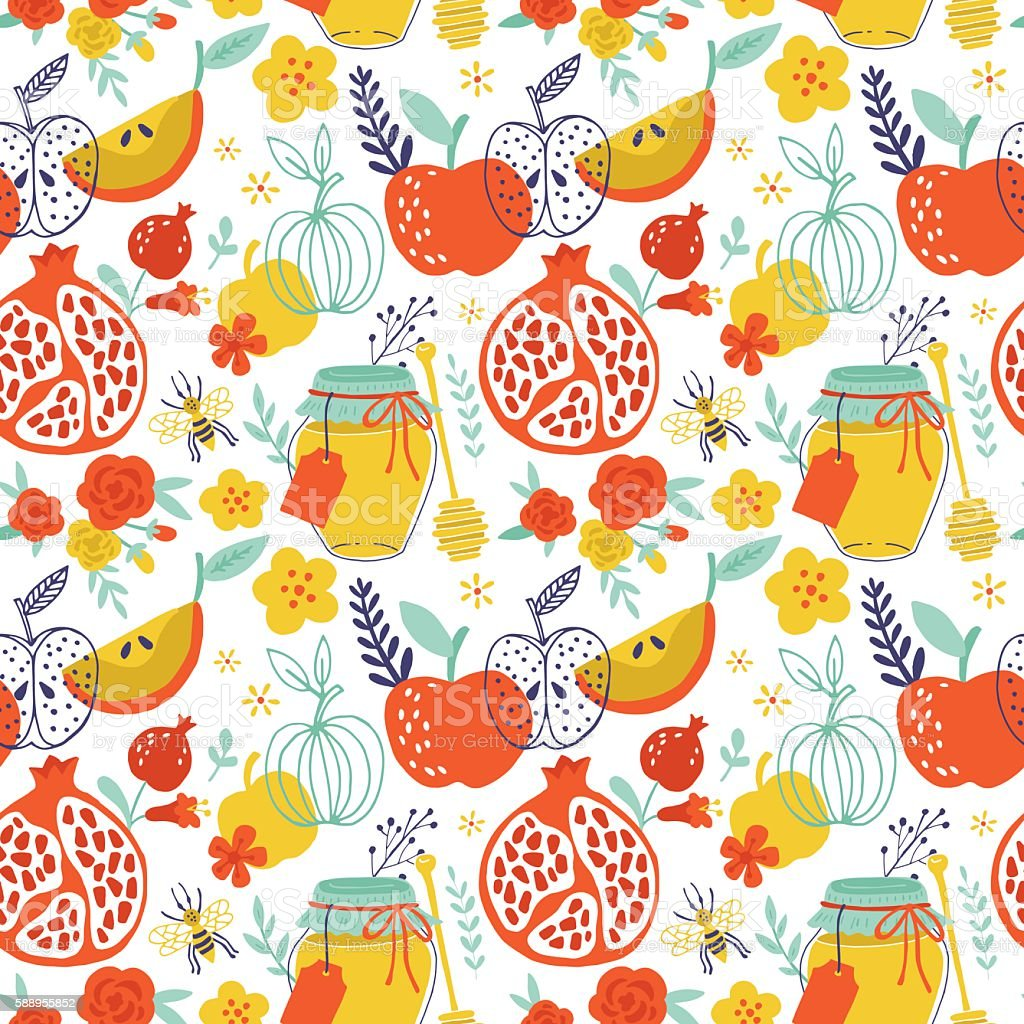 Jewish holiday Rosh Hashana seamless pattern design with apples, vector art illustration