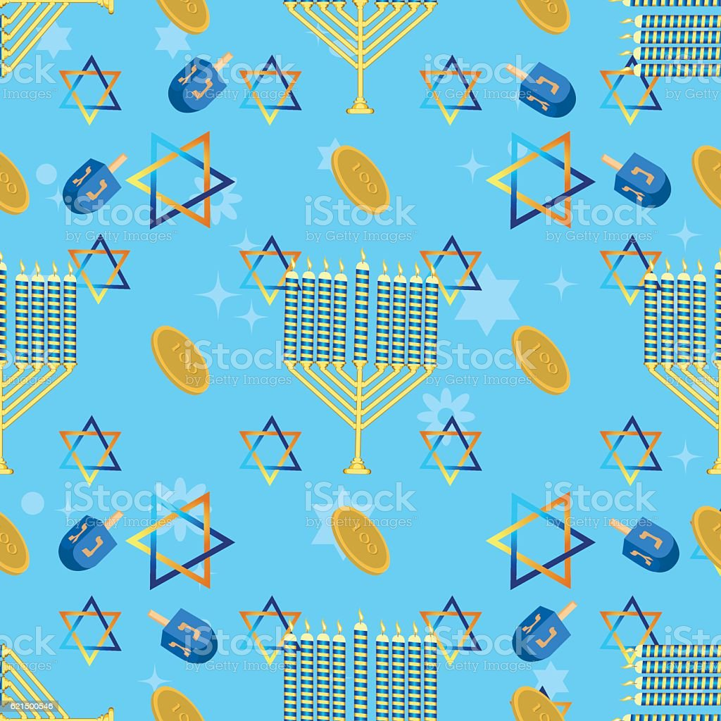 Jewish holiday seamless pattern hanukkah vector. vector art illustration