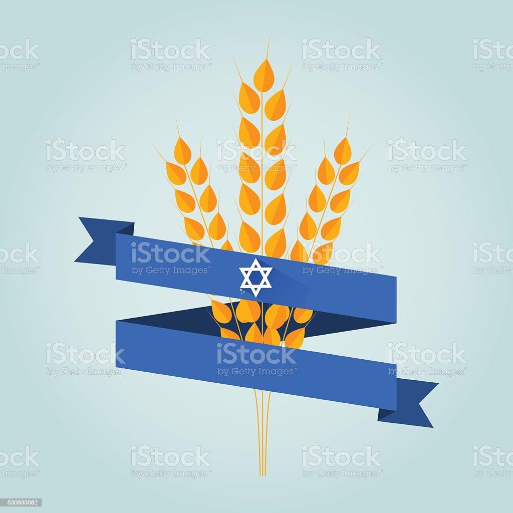 Jewish holiday shavuot banner vector art illustration