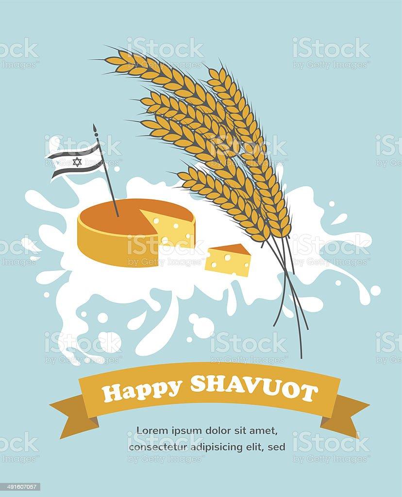 Jewish holiday Shavuot vector art illustration