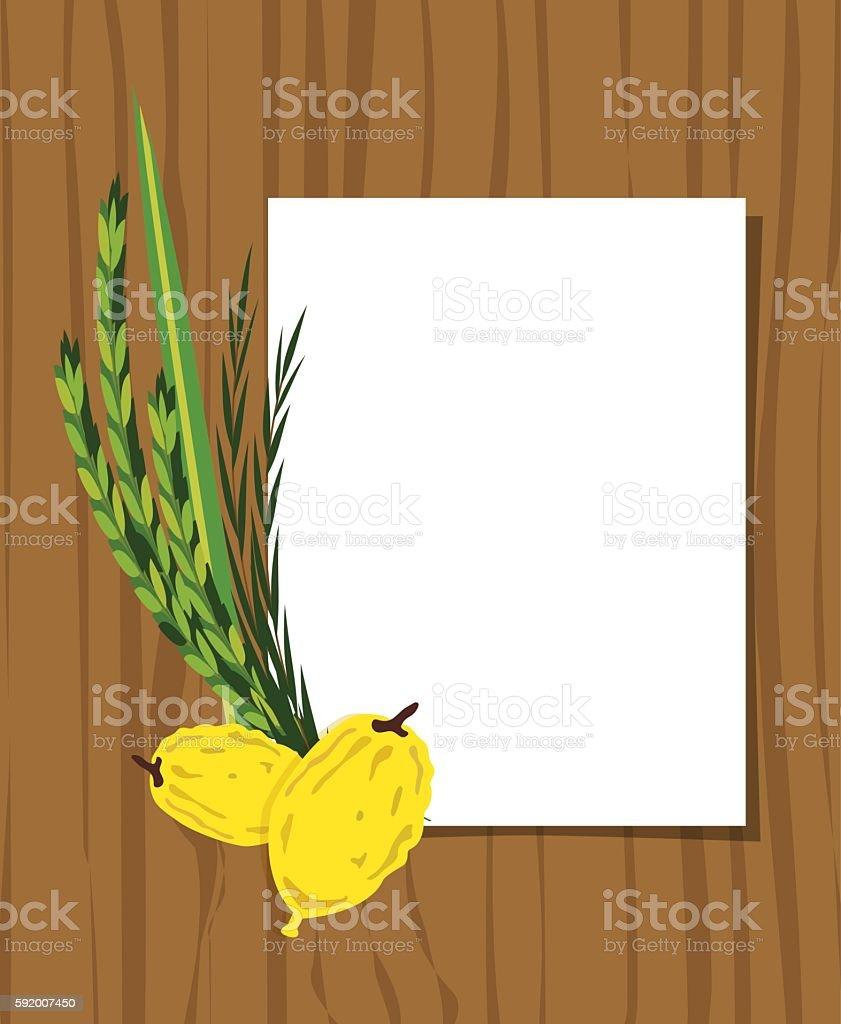 Jewish holiday Sukkot. Lulav ,Etrog, Arava and Hadas. Four species vector art illustration
