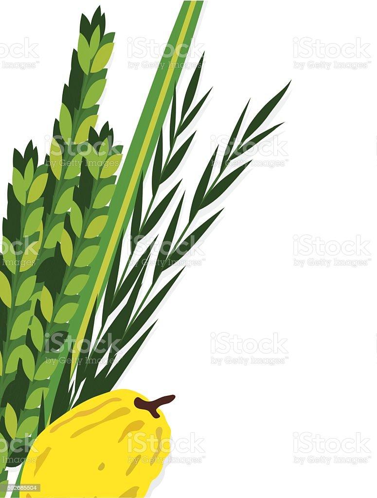 Jewish holiday Sukkot. Lulav, ,Etrog, Arava and Hadas. Four species vector art illustration